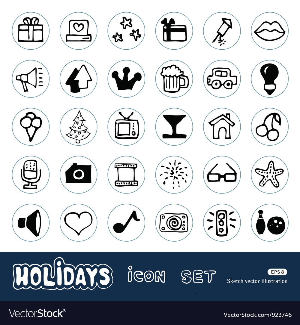 Holidays and celebration web icons set vector | Price: 1 Credit (USD $1)