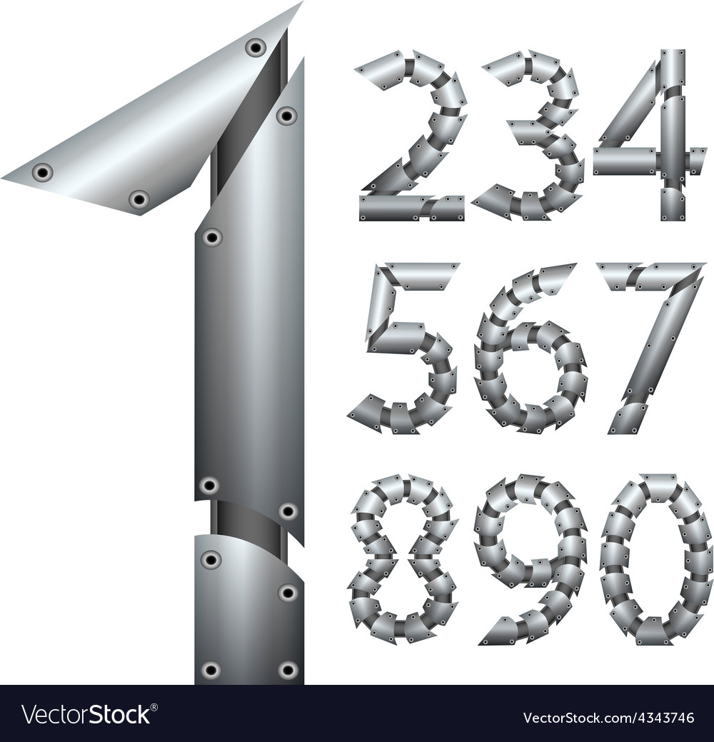 Number metal construction isolated on white vector | Price: 1 Credit (USD $1)