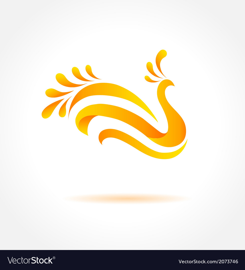 Orange bird creative symbol of happiness vector