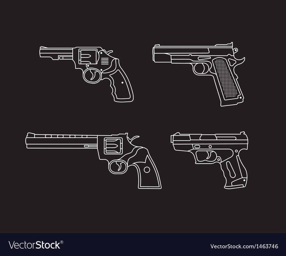 Pistols and revolvers vector | Price: 1 Credit (USD $1)