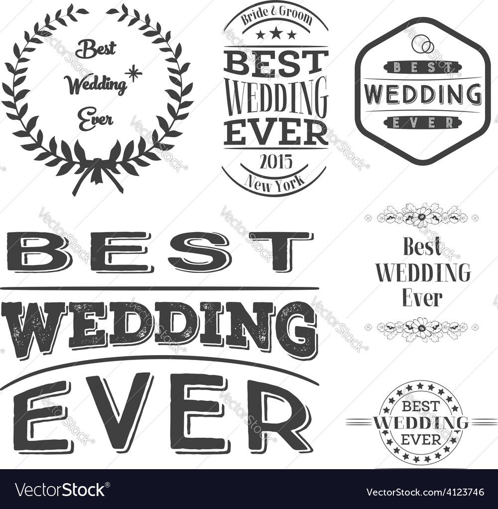 Set of best wedding ever labels vector   Price: 1 Credit (USD $1)