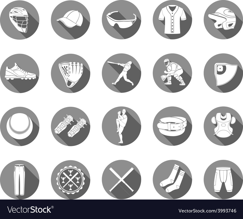 Set of icons of baseball in style flat design vector | Price: 1 Credit (USD $1)