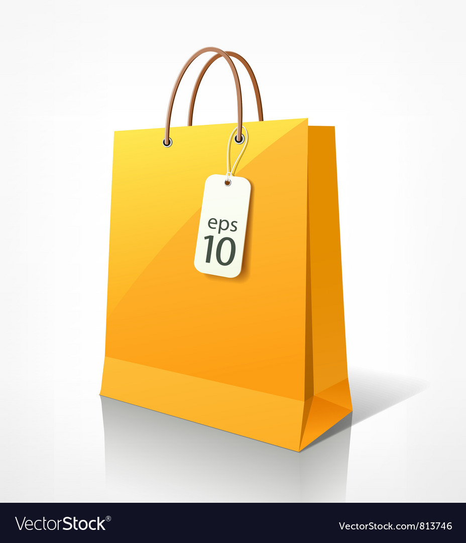 Shopping yellow bag vector | Price: 1 Credit (USD $1)