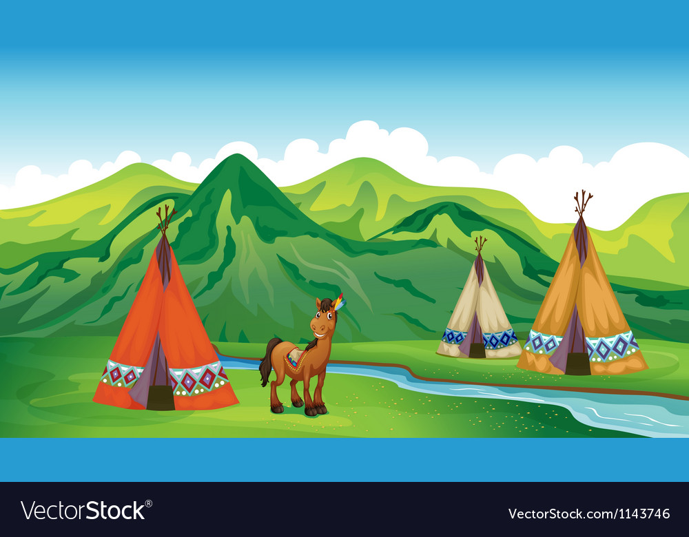 Tents and a smiling horse vector | Price: 1 Credit (USD $1)