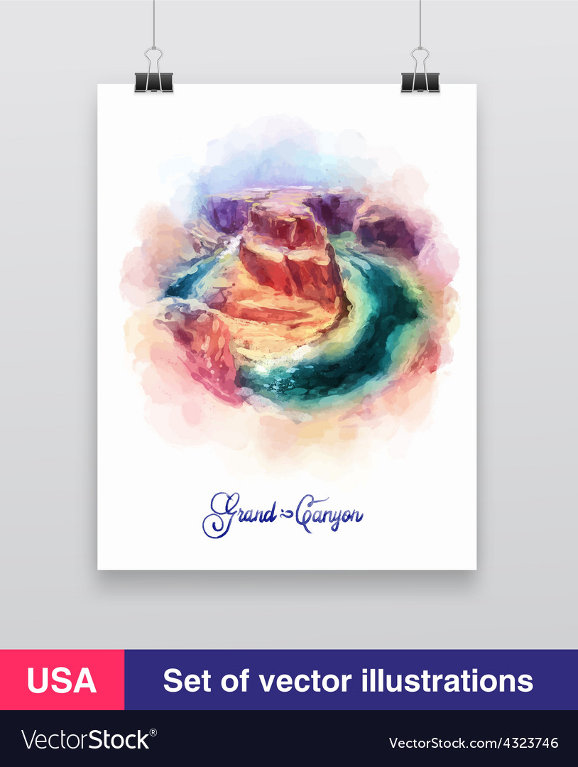 Watercolor grand canyon arizona usa vector | Price: 1 Credit (USD $1)