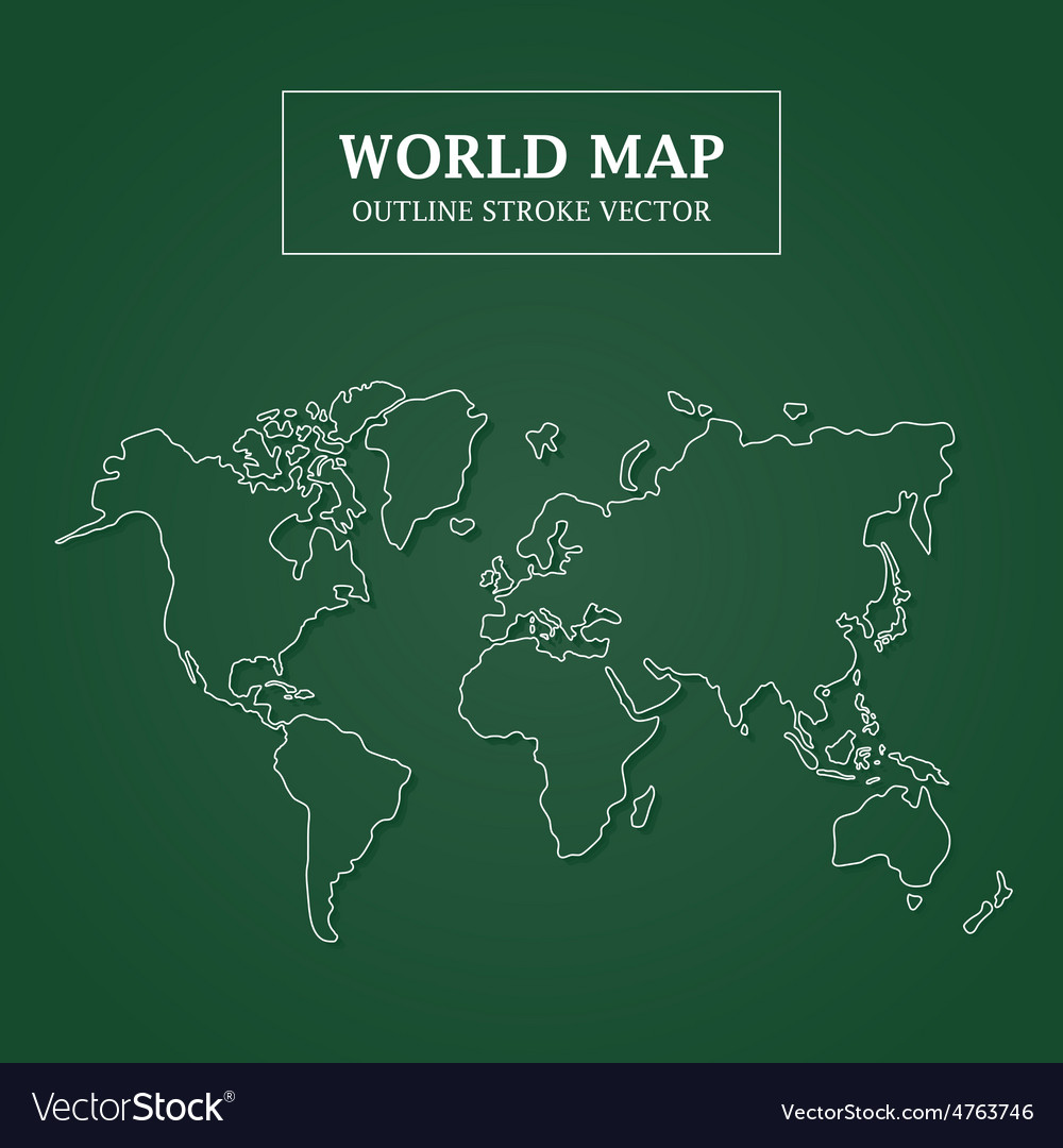 World map white outline stroke on green background vector | Price: 1 Credit (USD $1)