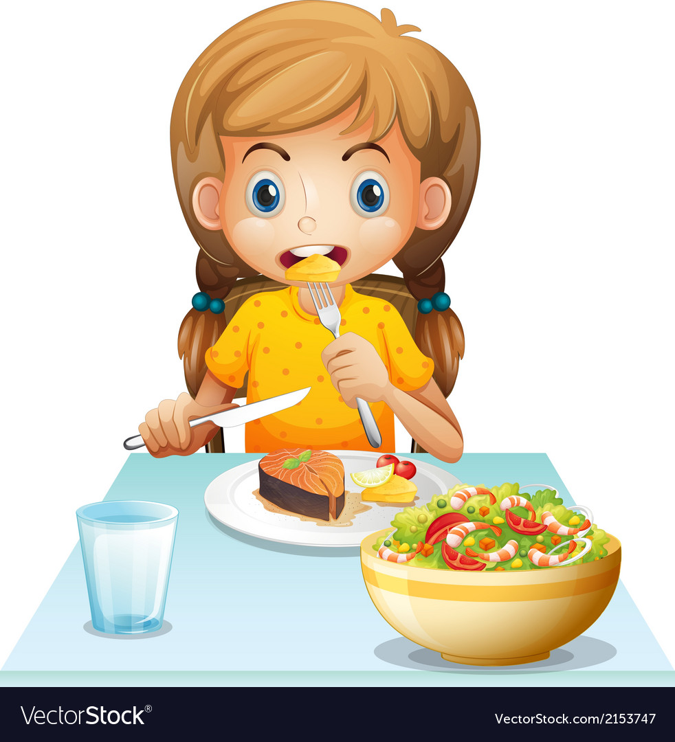 A young girl eating vector | Price: 1 Credit (USD $1)
