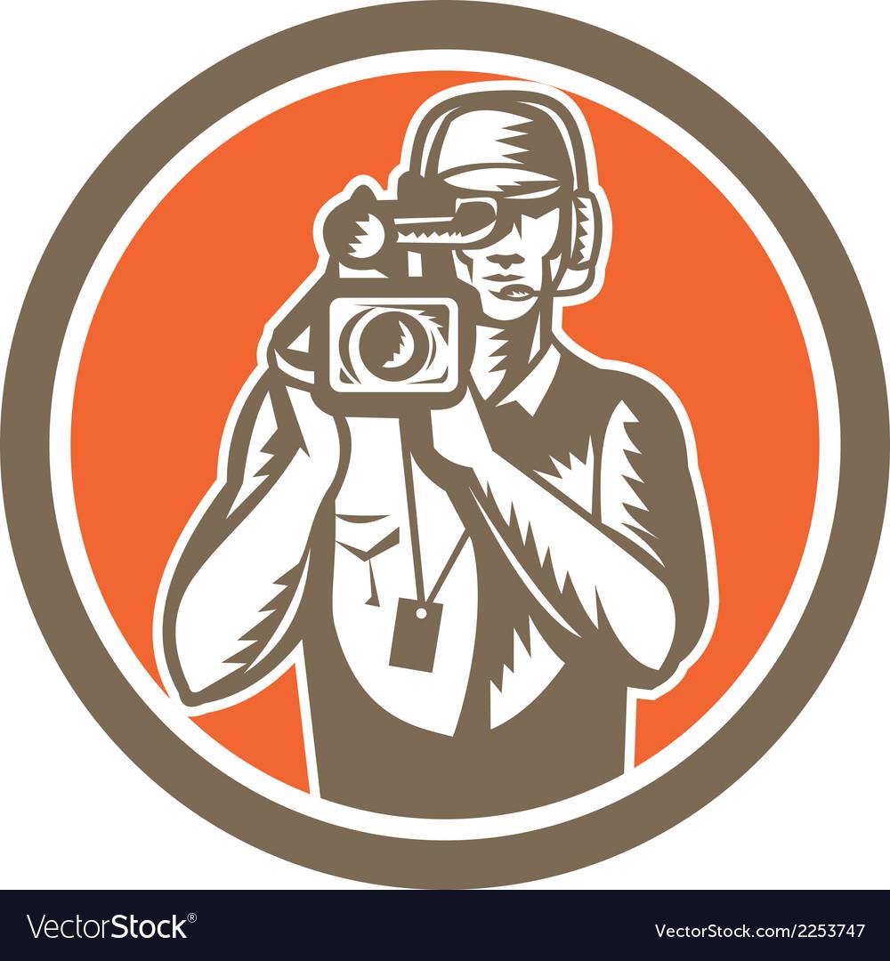 Cameraman holding movie video camera circle vector | Price: 1 Credit (USD $1)