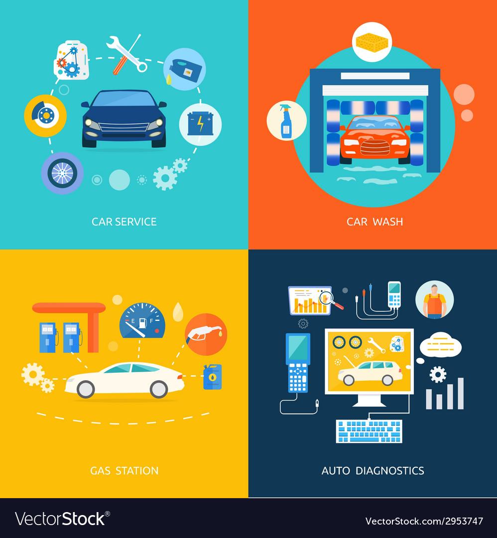 Car service car wash gas station auto diagnostics vector | Price: 1 Credit (USD $1)