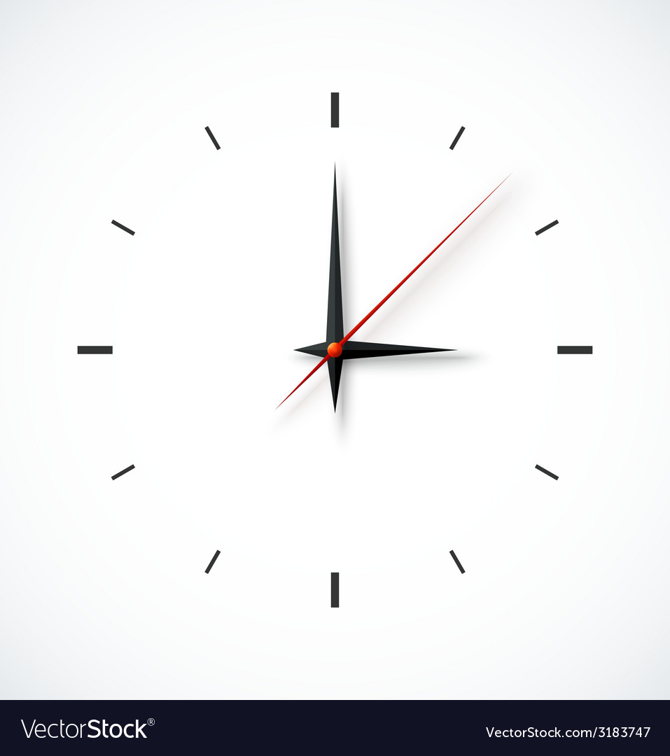 Clock face on white background vector | Price: 1 Credit (USD $1)