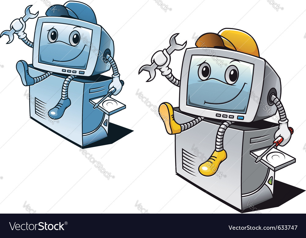 Computer in cartoon style for repair service conce vector | Price: 1 Credit (USD $1)