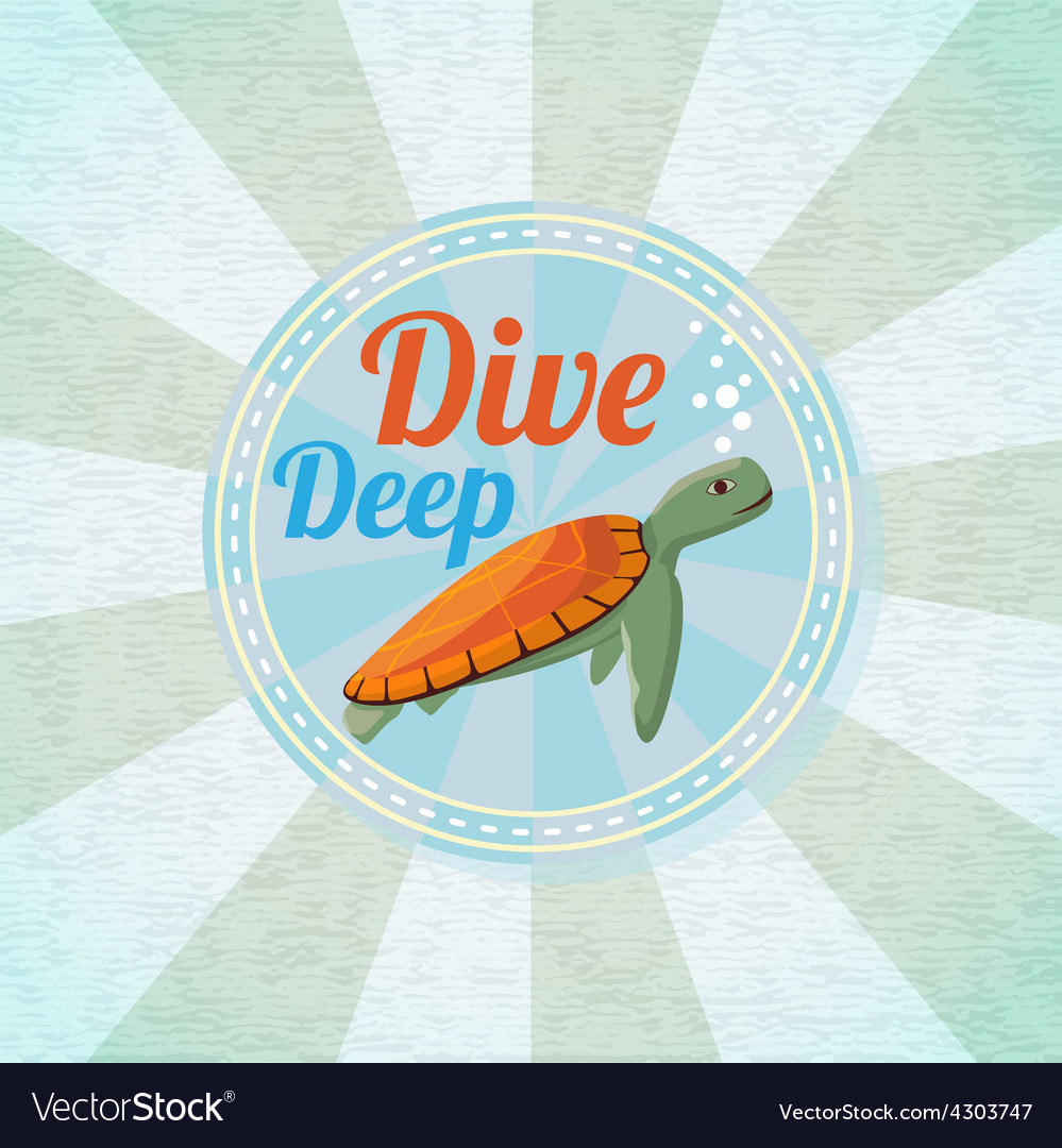 Deep diving ocean turtle retro background vector | Price: 3 Credit (USD $3)