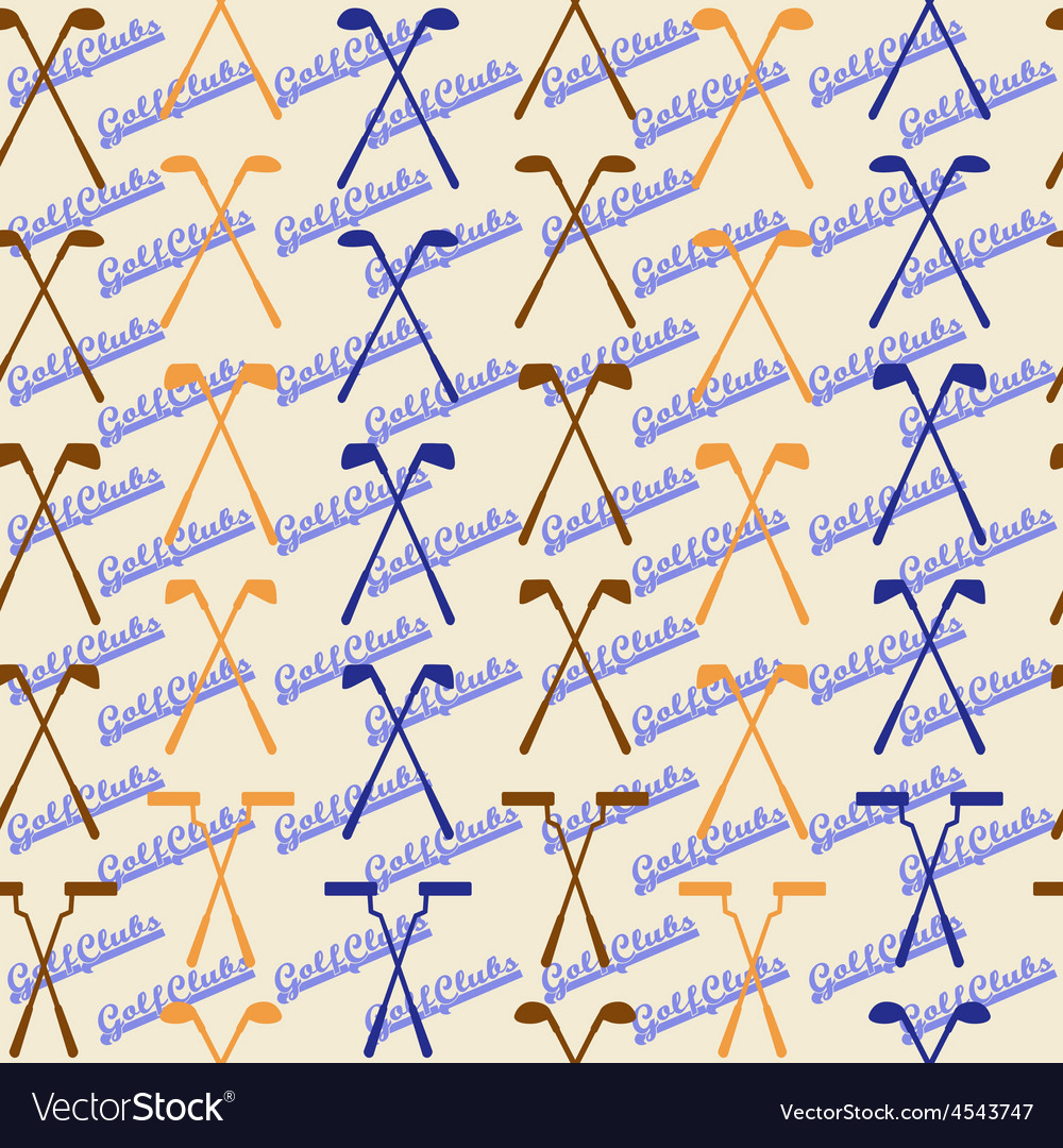 Golf sport clubs seamless texture in vintage style vector | Price: 1 Credit (USD $1)