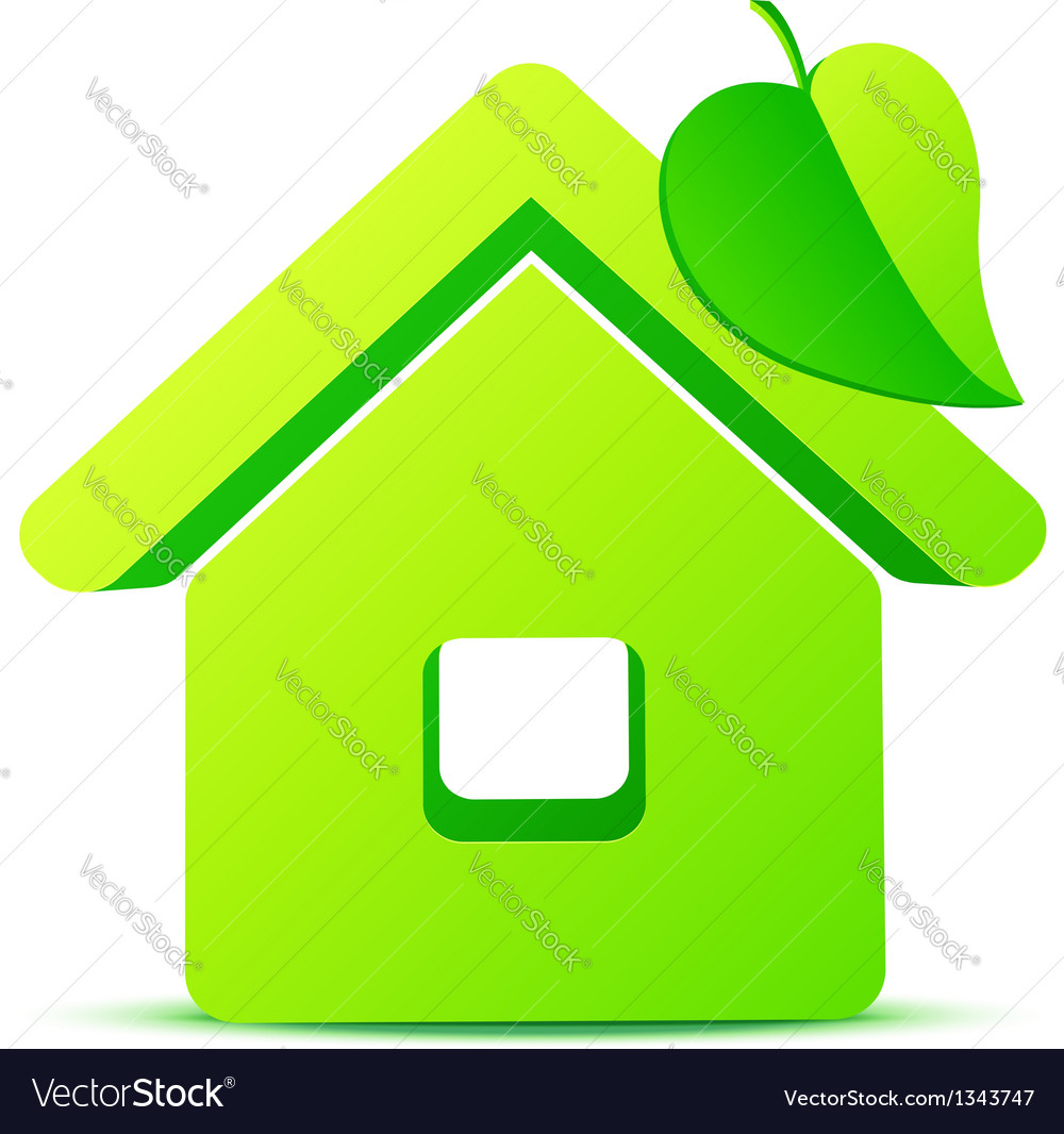 Green eco house 3d icon vector | Price: 1 Credit (USD $1)