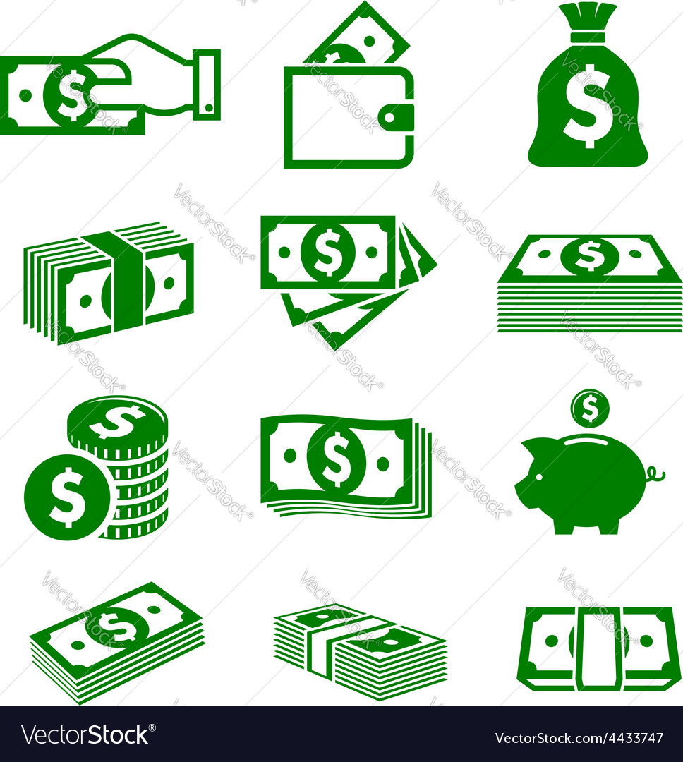 Green paper money and coins icons vector | Price: 1 Credit (USD $1)