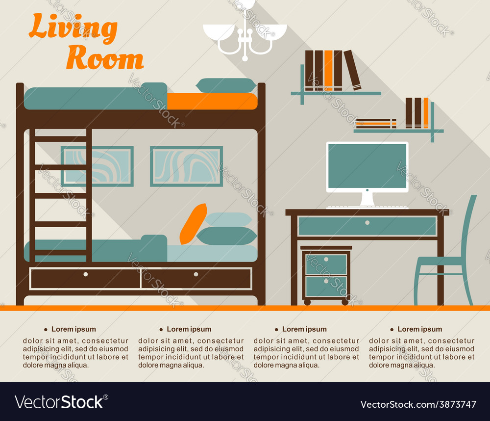 Living room flat interior design infographic vector | Price: 1 Credit (USD $1)