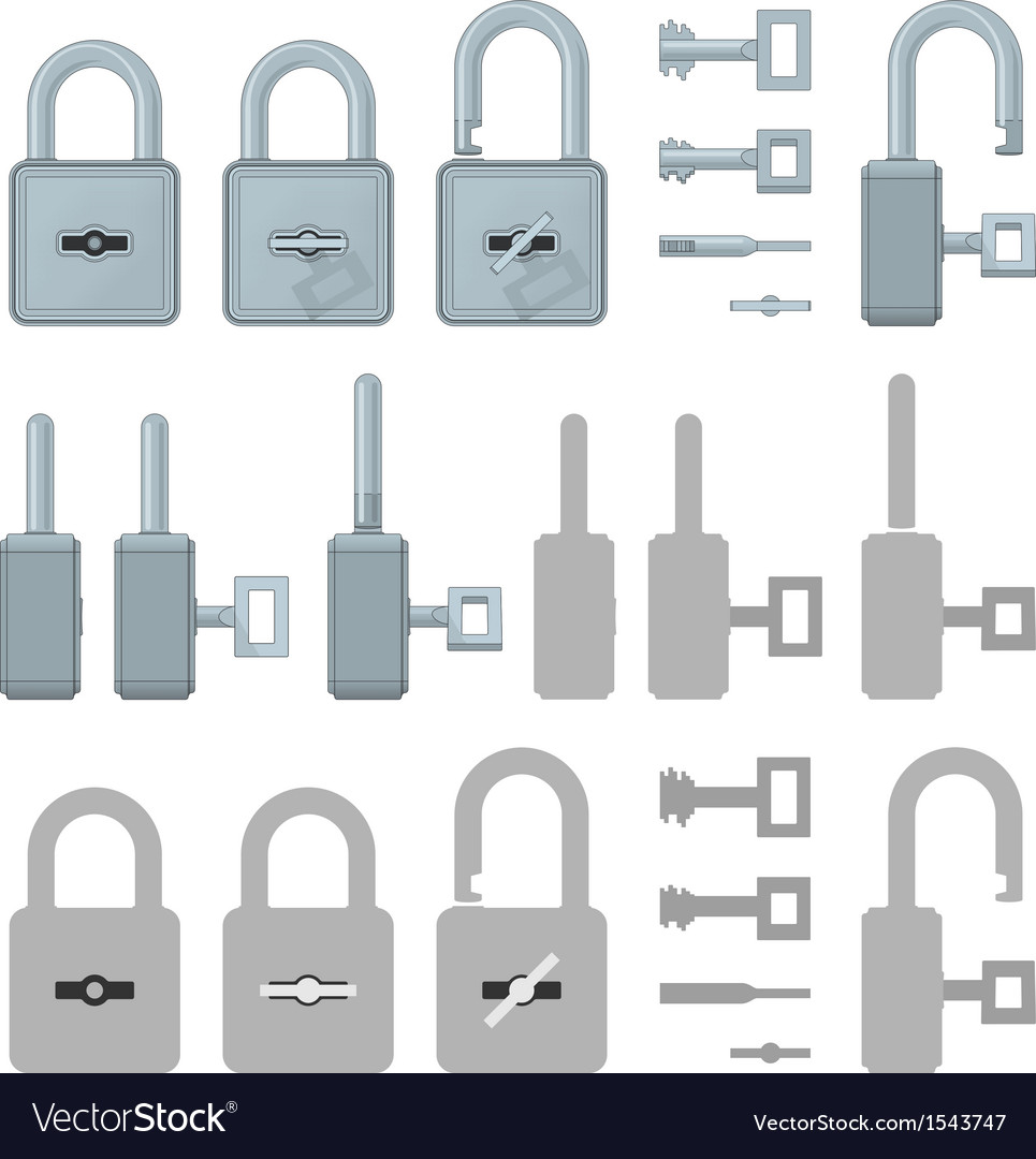 Locked or unlocked padlocks for web transaction vector | Price: 1 Credit (USD $1)