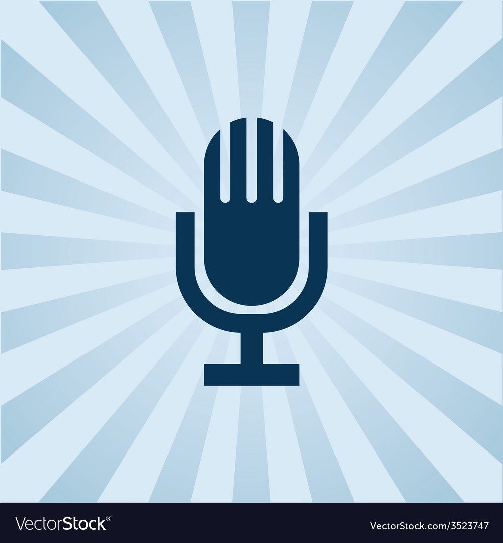 Old fashioned microphone on background beams vector | Price: 1 Credit (USD $1)