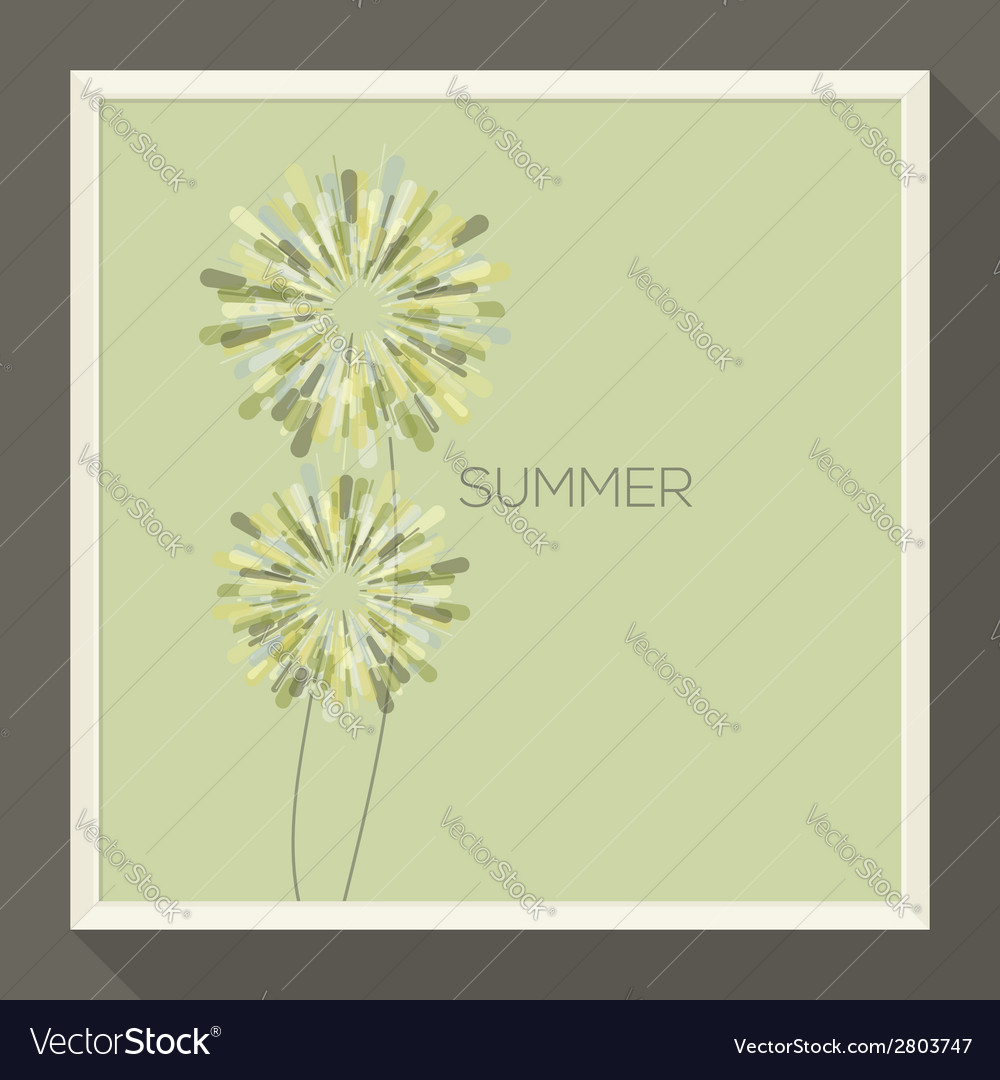 Poster with abstract pastel-colored green flower vector | Price: 1 Credit (USD $1)
