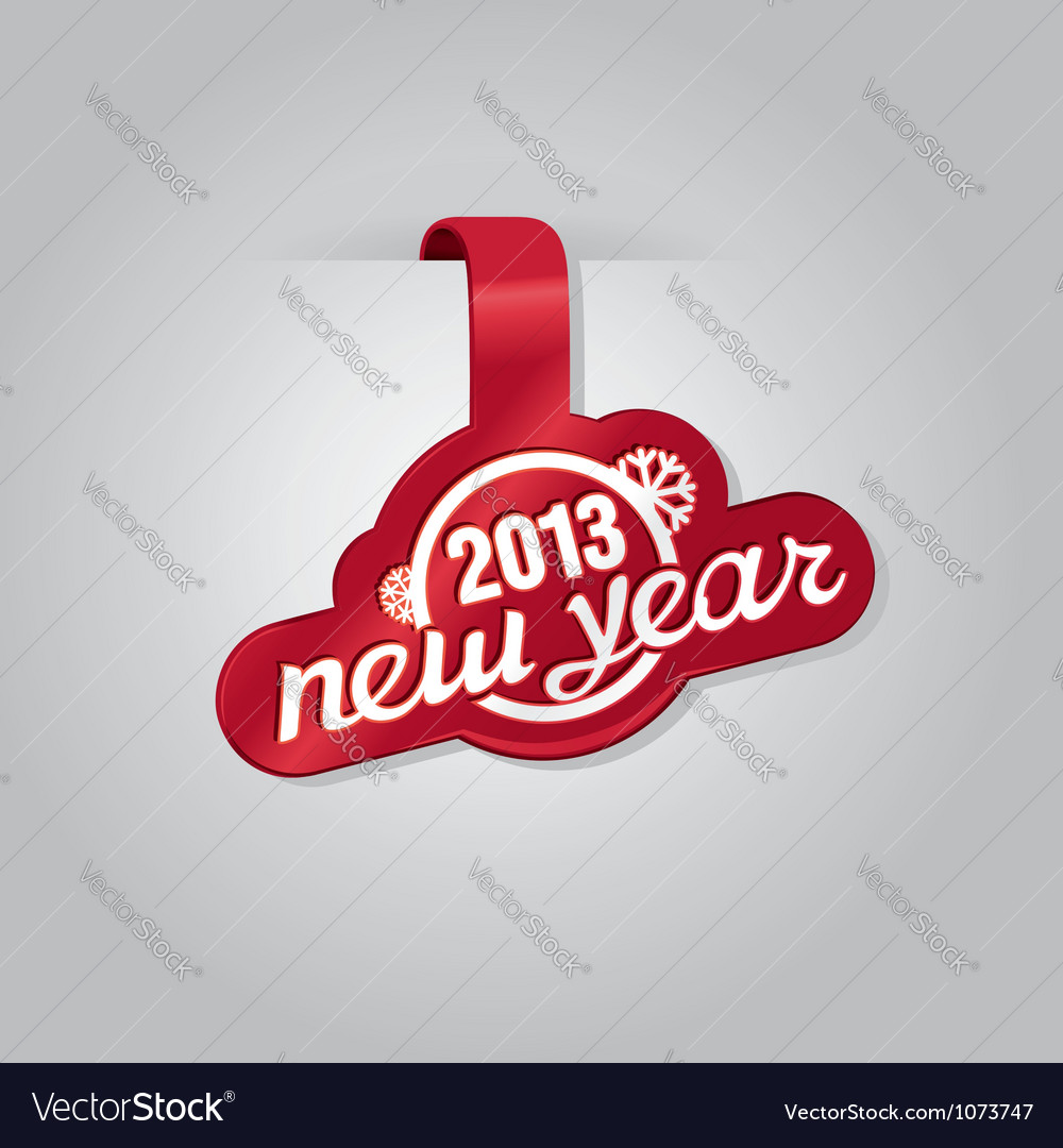 Red sticker with text new year vector | Price: 1 Credit (USD $1)