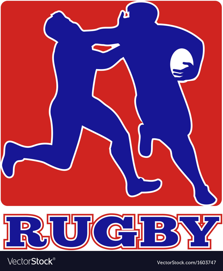Rugby player tackle fending off vector | Price: 1 Credit (USD $1)