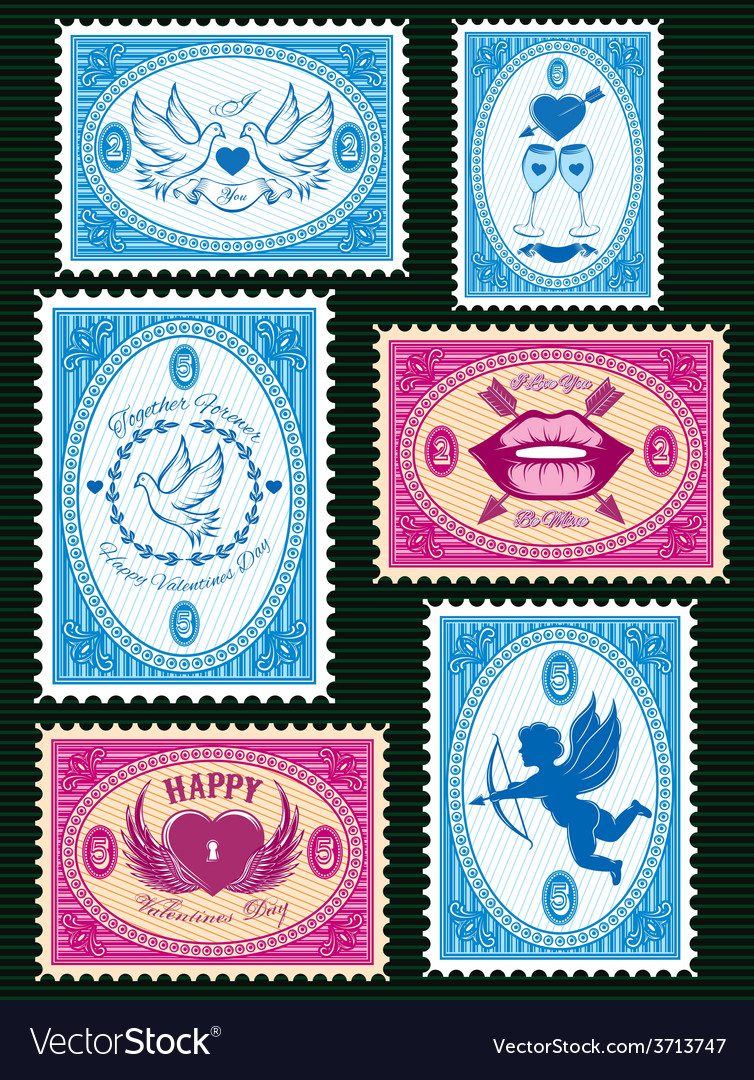 Set stamps for love cards for valentines vector   Price: 1 Credit (USD $1)