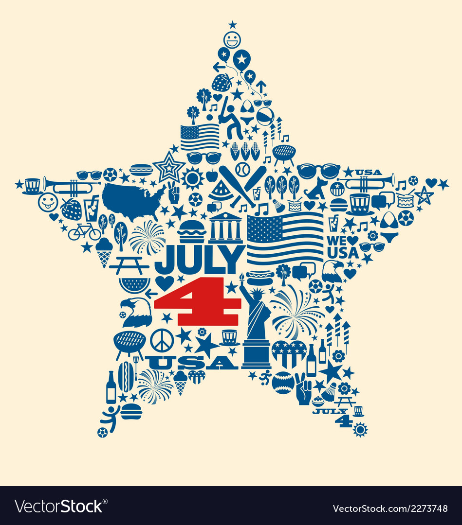 4th of july icons symbols collage t-shirt design vector   Price: 1 Credit (USD $1)