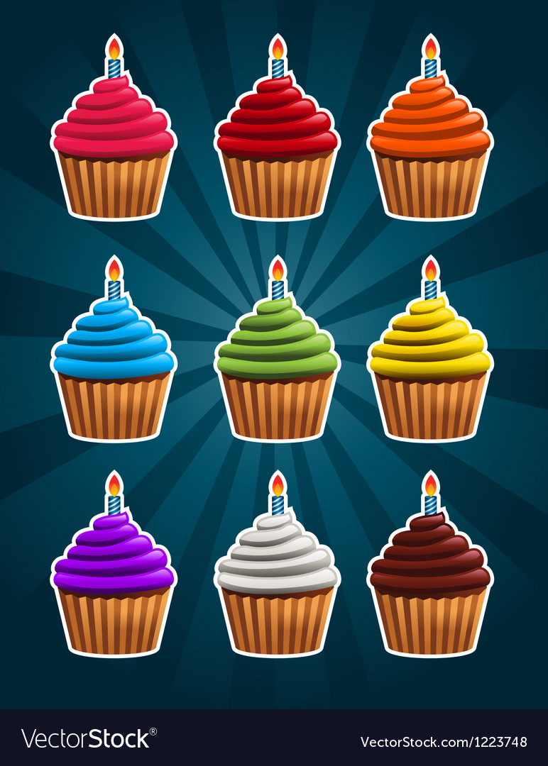 Birthday cupcakes vector | Price: 3 Credit (USD $3)