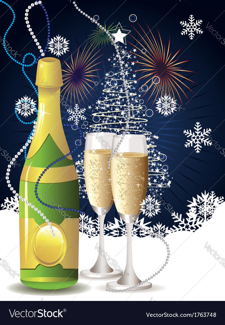 Card with champagne vector | Price: 1 Credit (USD $1)
