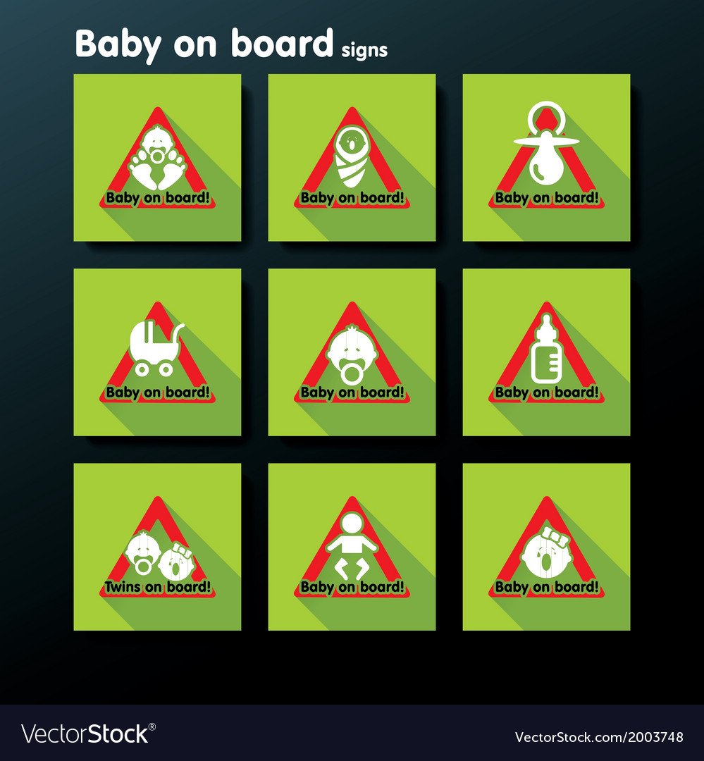 Flat baby on board sign set vector   Price: 1 Credit (USD $1)