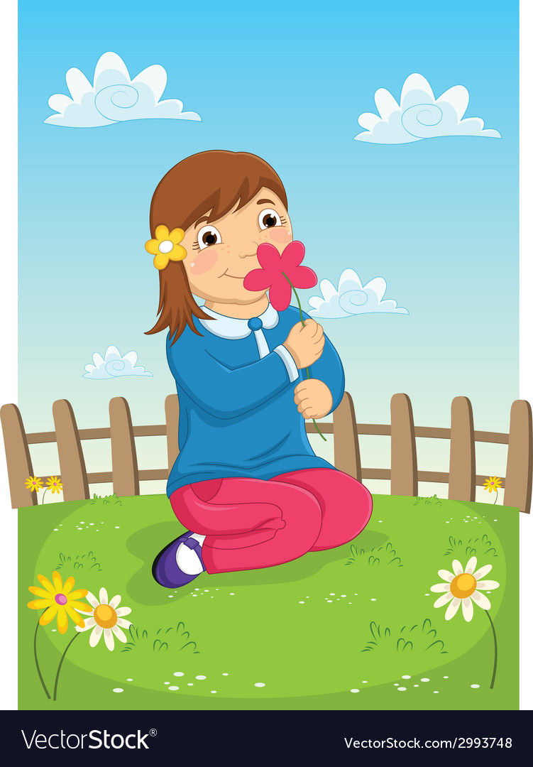 Girl smelling flower vector   Price: 1 Credit (USD $1)