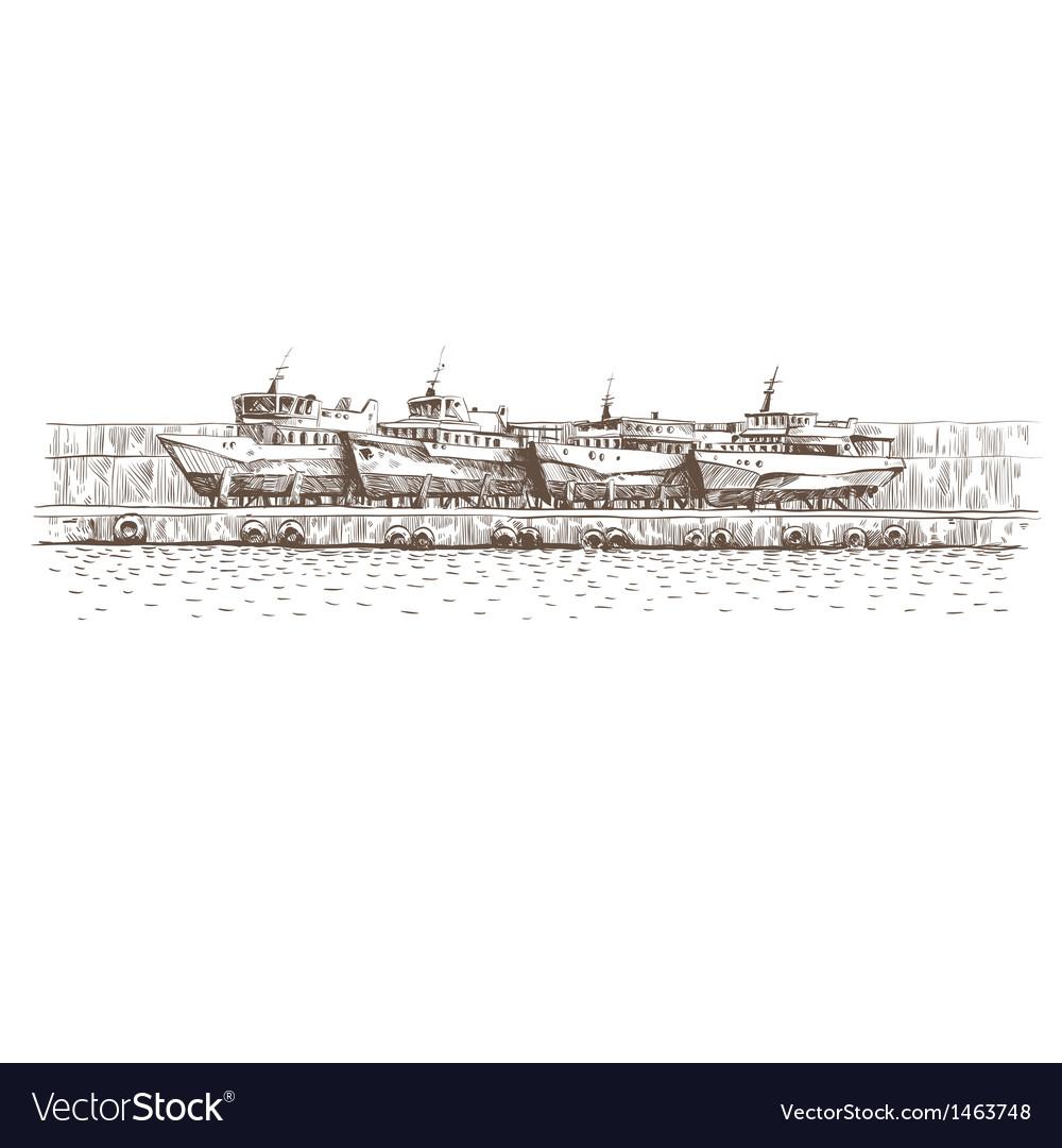 Hand drawn boats vector   Price: 1 Credit (USD $1)