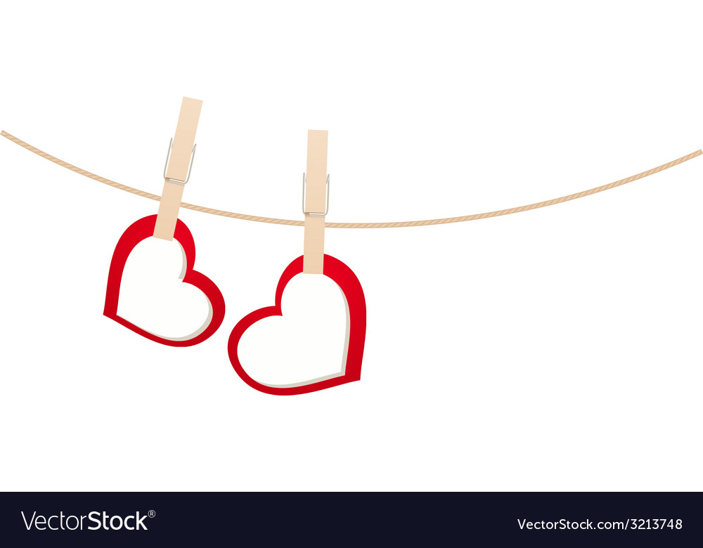 Hearts clothespins 01 vector
