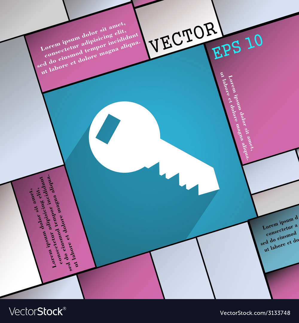Key icon symbol flat modern web design with long vector | Price: 1 Credit (USD $1)