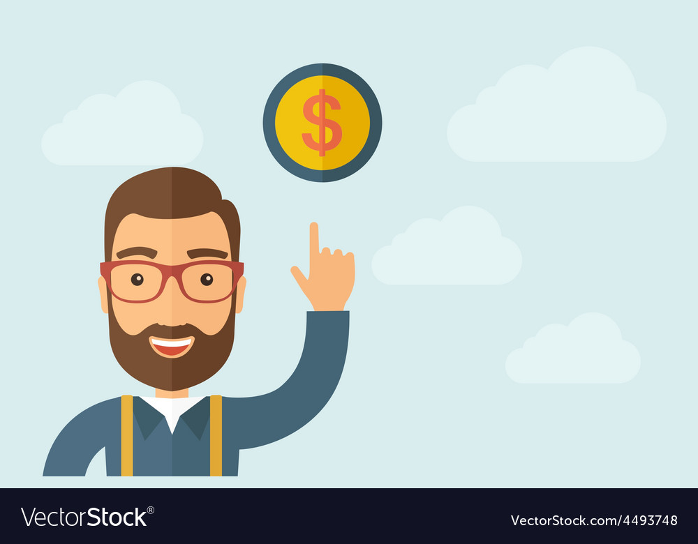 Man pointing the dollar coin icon vector | Price: 1 Credit (USD $1)