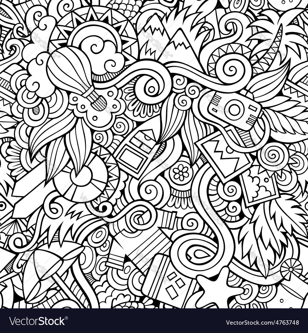 Seamless summer and travel background vector | Price: 1 Credit (USD $1)