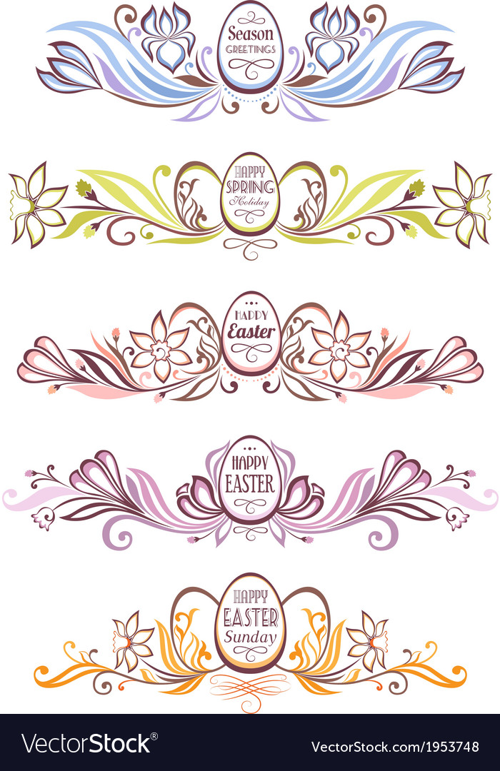 Set of easter decorative borders vector | Price: 1 Credit (USD $1)
