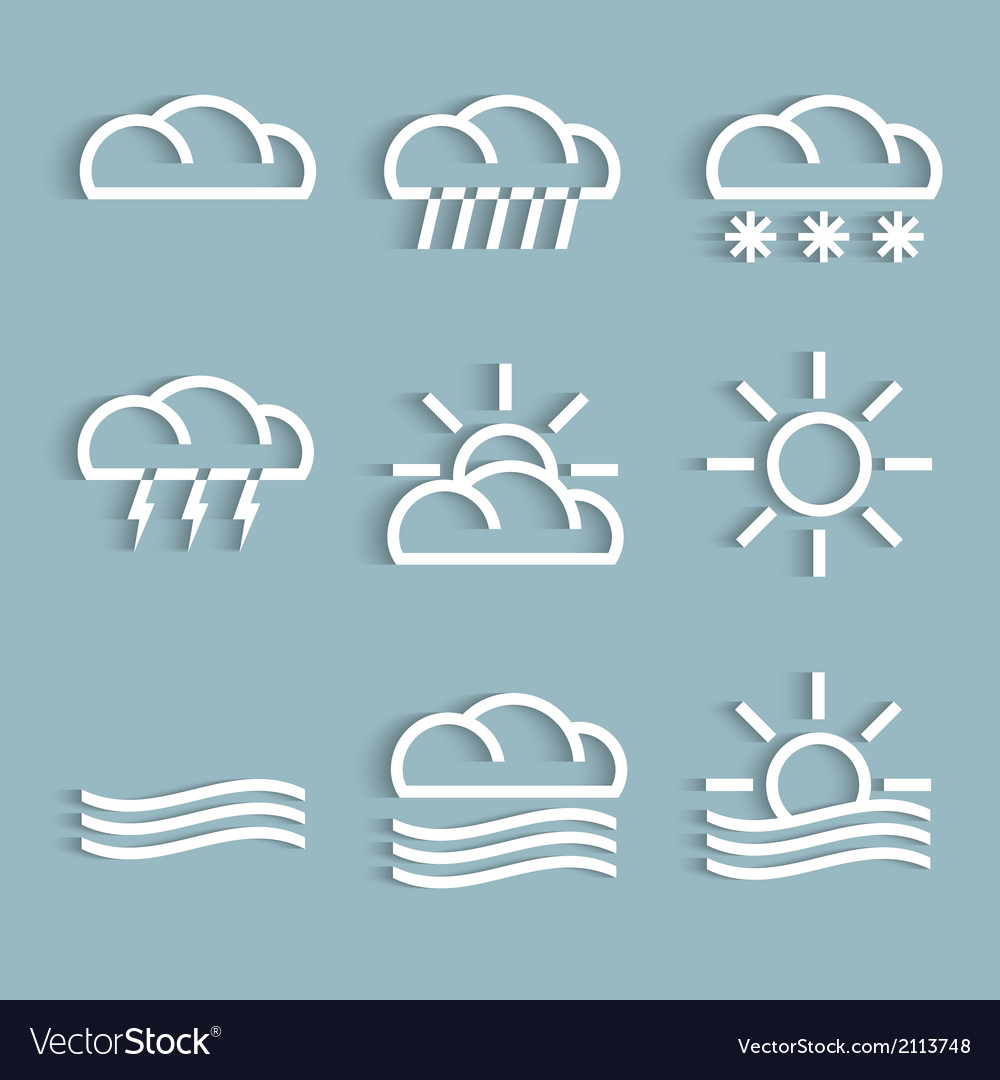 White weather icons vector | Price: 1 Credit (USD $1)