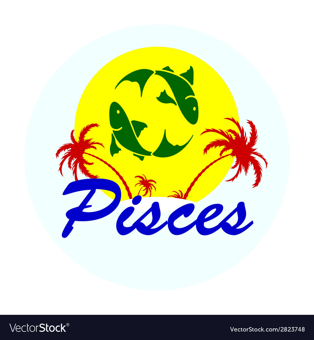 Zodiac sign with palm trees vector | Price: 1 Credit (USD $1)