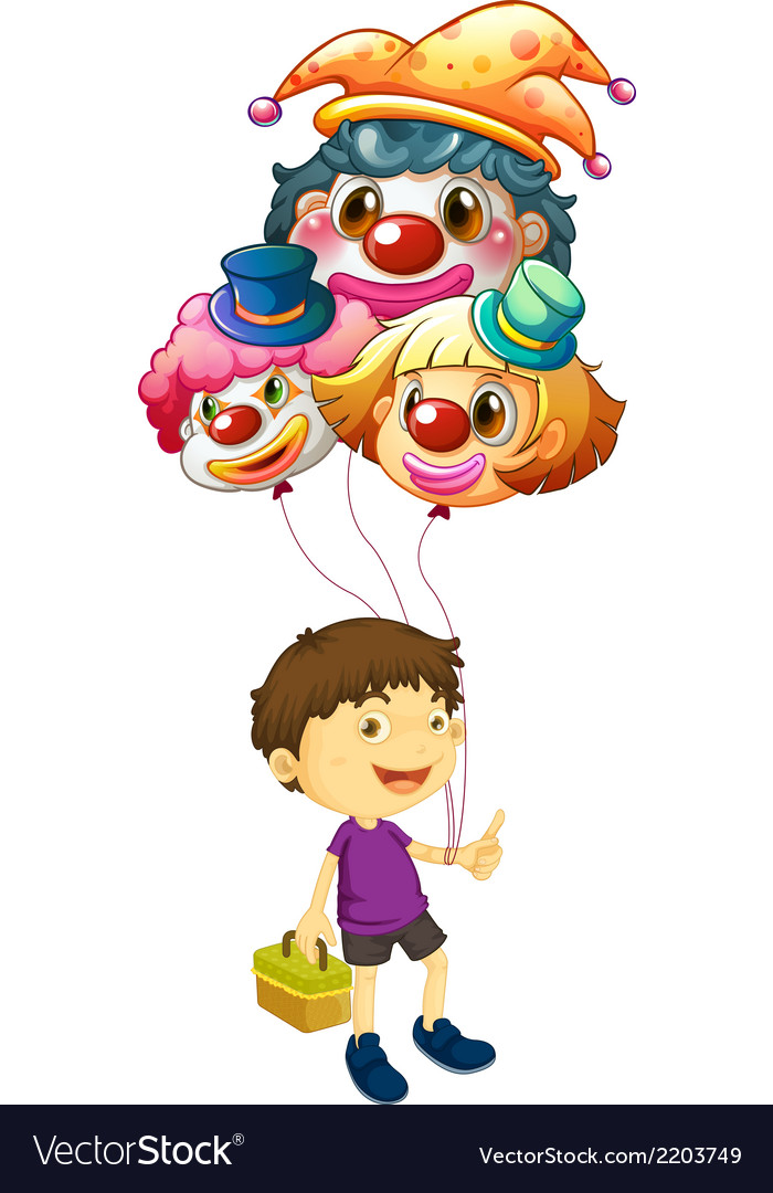 A boy carrying three clown balloons vector | Price: 3 Credit (USD $3)