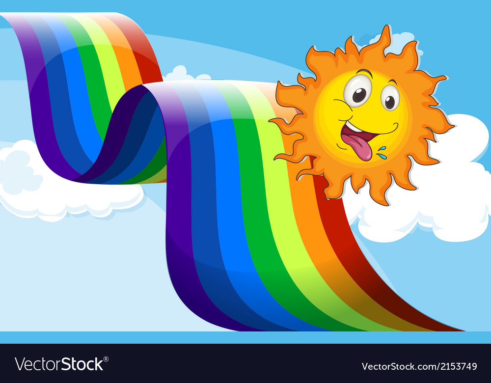 A rainbow beside the happy sun vector | Price: 1 Credit (USD $1)