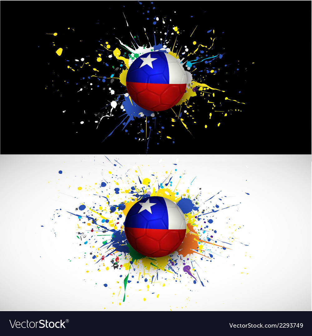 Chile flag with soccer ball dash on colorful vector | Price: 1 Credit (USD $1)