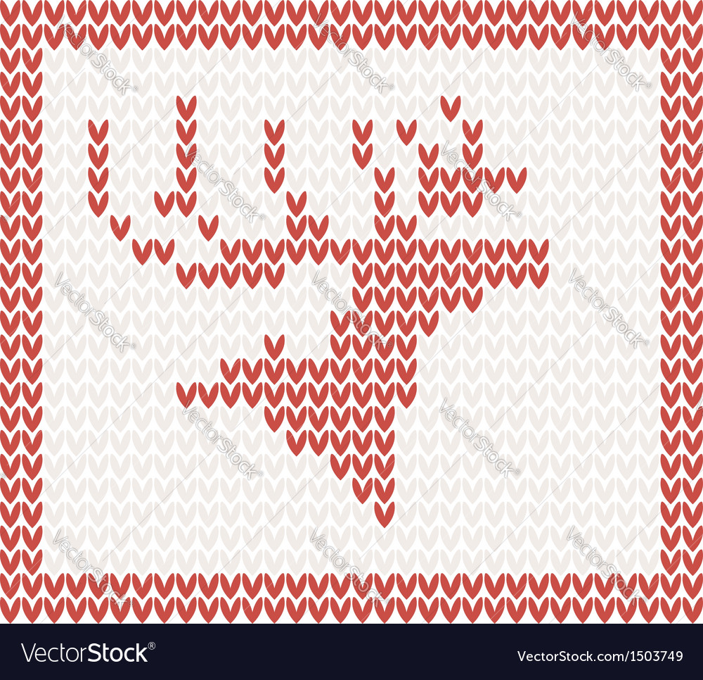 Christmas knitted background with deer vector | Price: 1 Credit (USD $1)