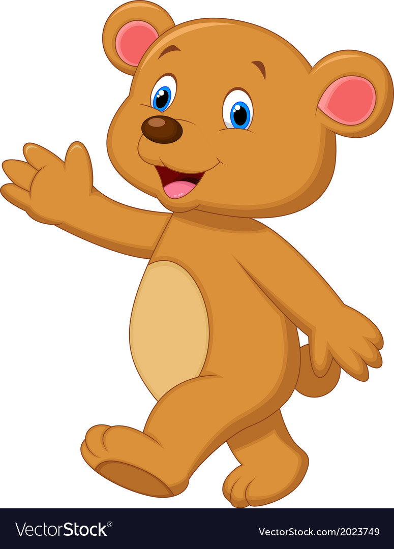 Cute brown bear cartoon waving hand vector | Price: 1 Credit (USD $1)