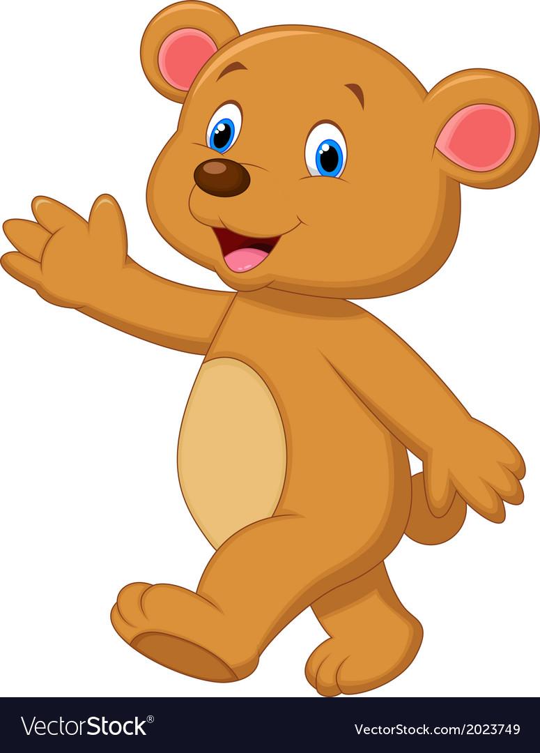 Cute brown bear cartoon waving hand vector | Price: 1 Credit (USD $1)