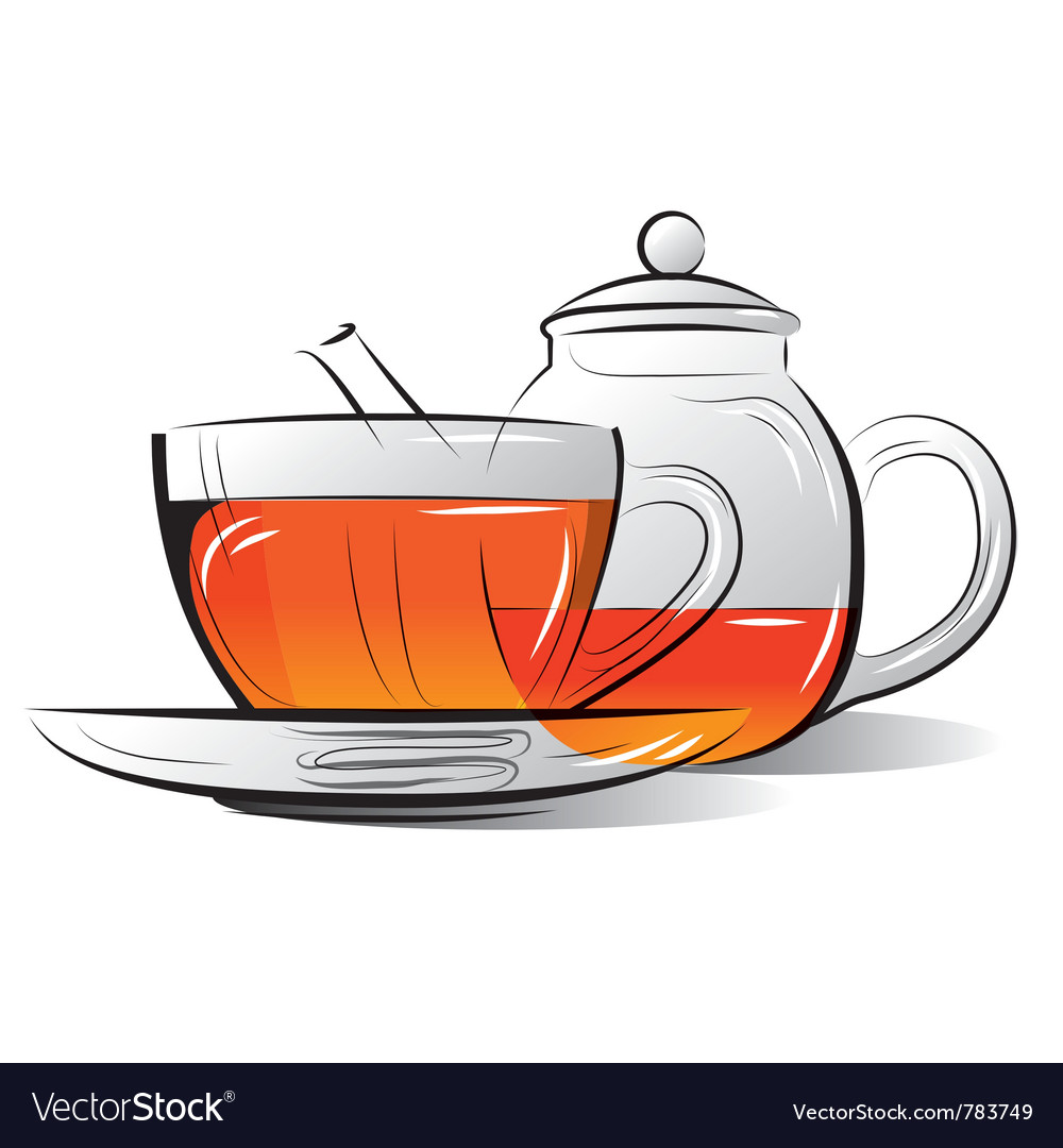 Drawing teapot and cup of tea vector | Price: 1 Credit (USD $1)