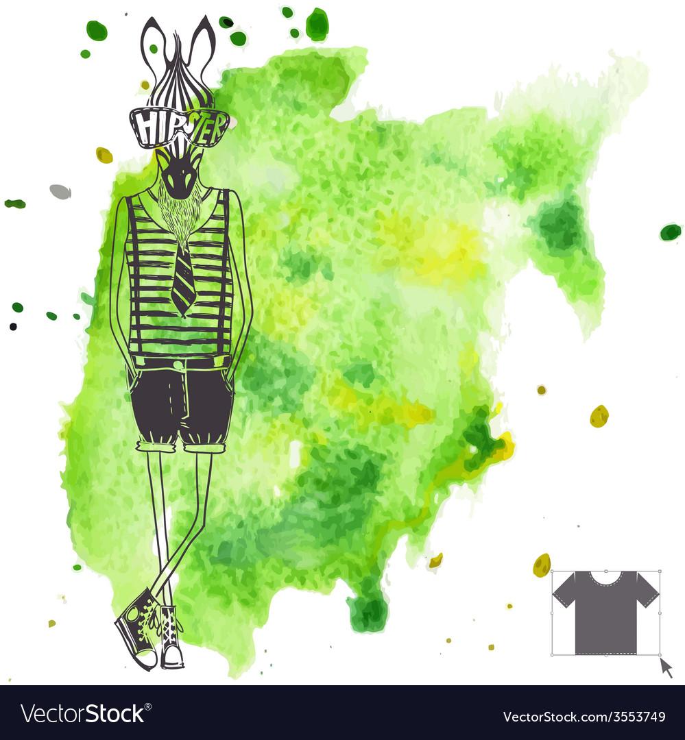 Hand drawn fashion portrait of hipster zebra vector   Price: 1 Credit (USD $1)