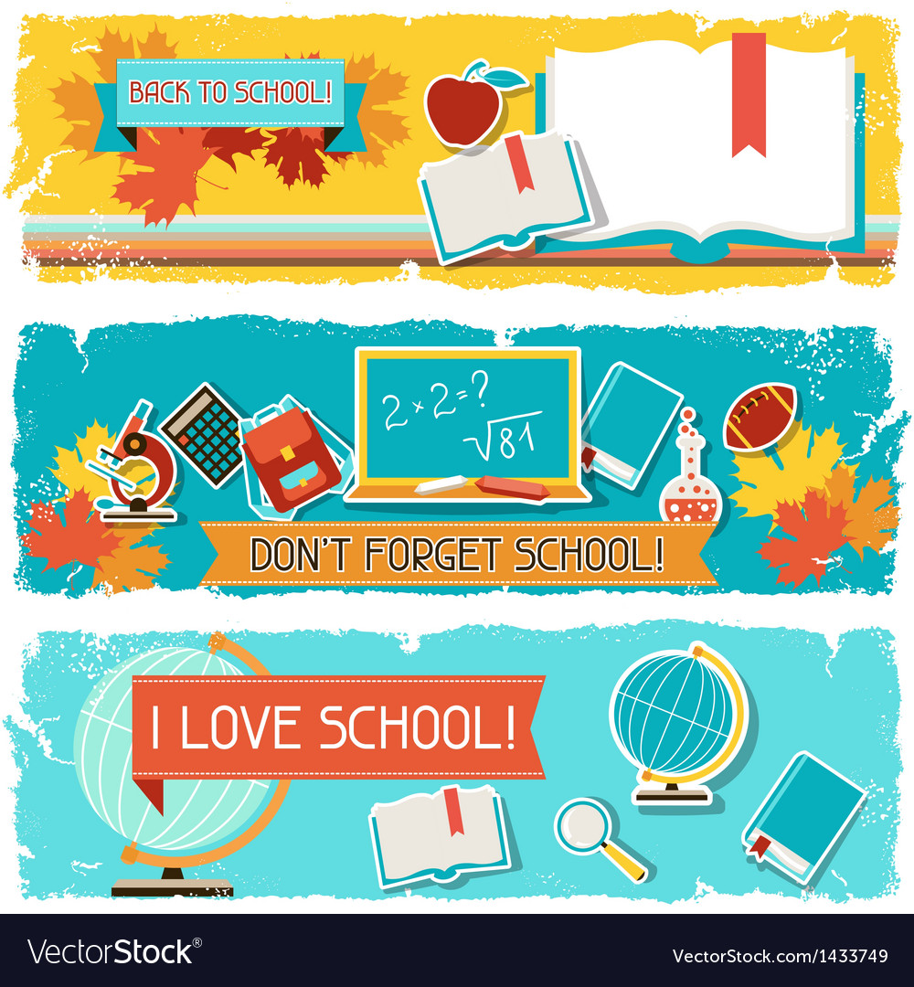 Horizontal banners with an of school objects vector | Price: 3 Credit (USD $3)