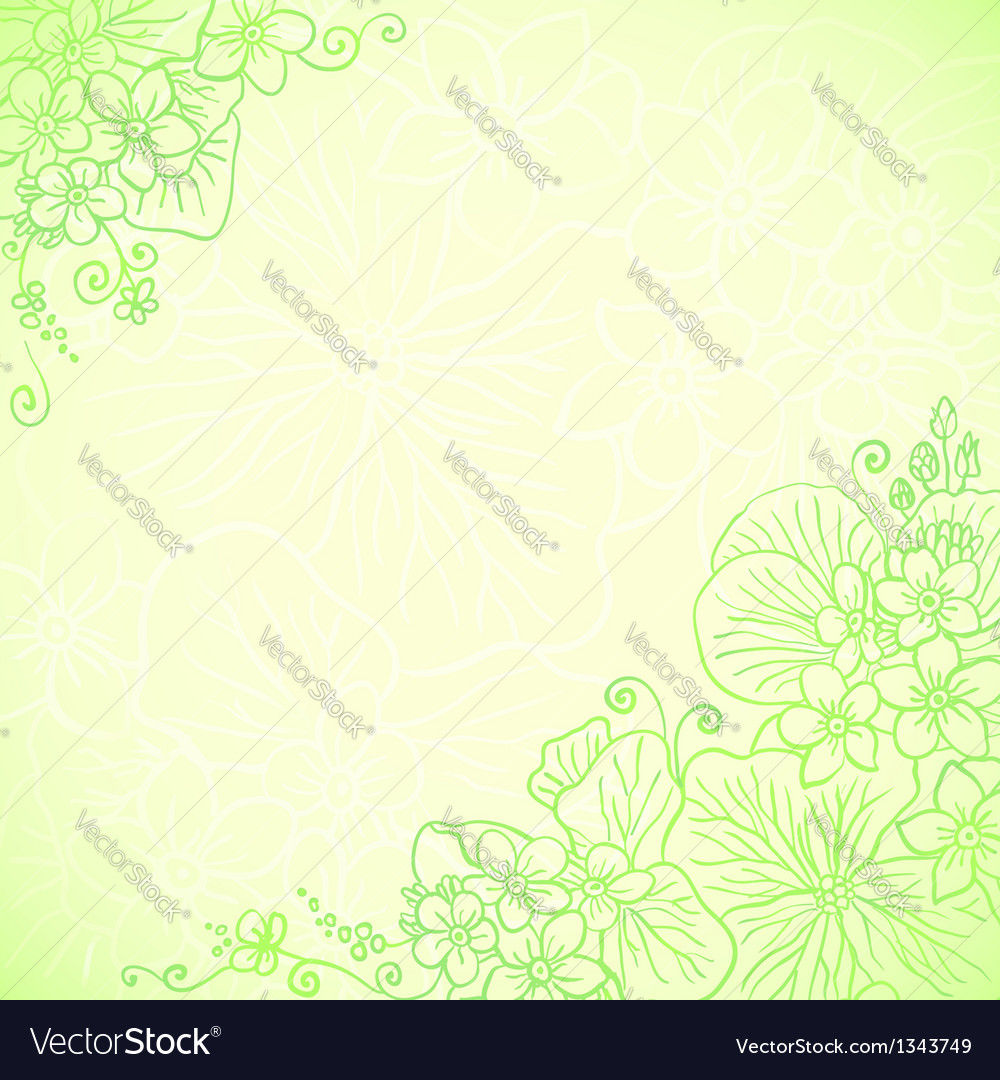 Light green ornate flowers background vector | Price: 1 Credit (USD $1)