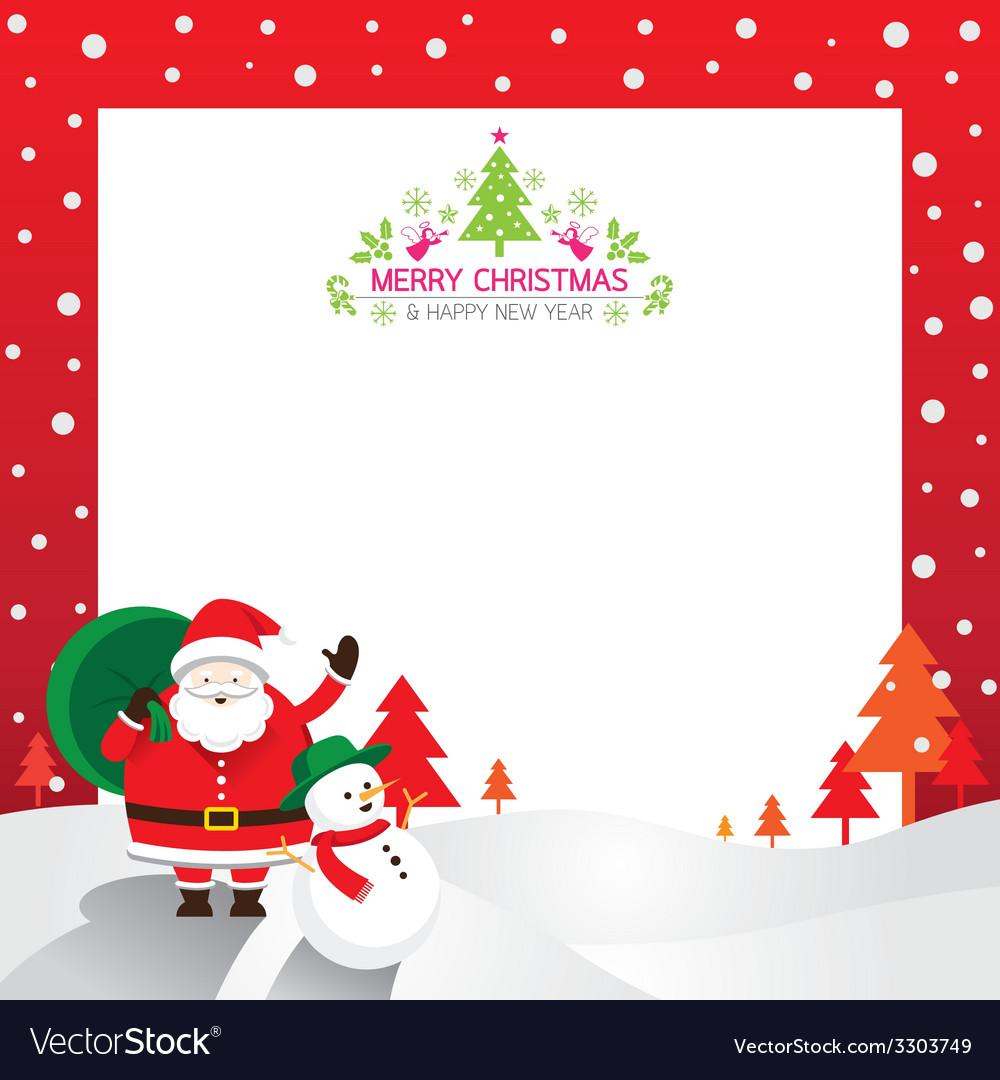 Santa snowman border vector | Price: 1 Credit (USD $1)